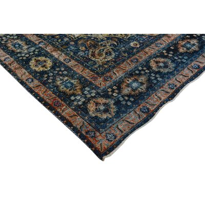 Bath Hand-Knotted Wool Blue/Beige Area Rug