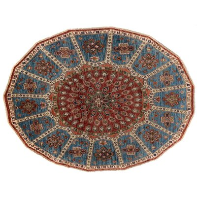 Baldwin Park Hand-Knotted Octagon Wool Red/Blue Area Rug