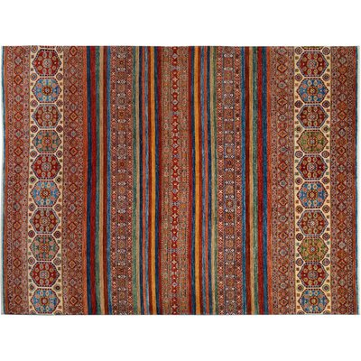 Baldwin Park Hand-Knotted Rectangle Wool Red/Blue Area Rug
