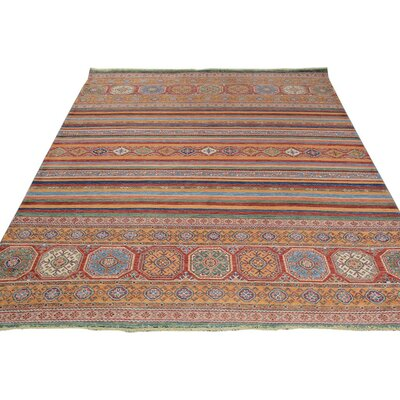 Baldwin Park Hand-Knotted Wool Red/Blue Geometric Area Rug