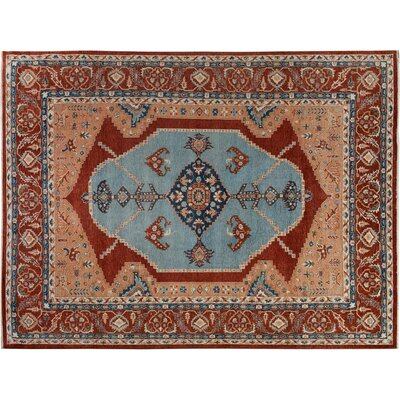 Bear River Hand-Knotted Wool Blue/Rust Area Rug