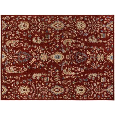 Badham Hand-Knotted Wool Red/Tan Area Rug