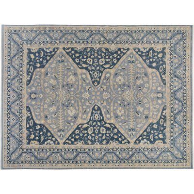 Badham Hand-Knotted Wool Gray/Blue Area Rug