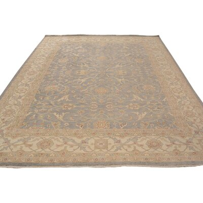 Xenos Oriental Hand-Knotted Rectangle Wool Gray/Ivory Indoor Area Rug
