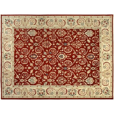 Badham Hand-Knotted Wool Red/Ivory Area Rug
