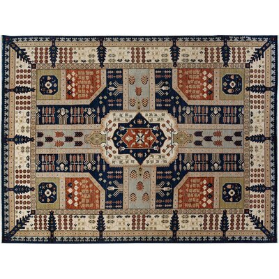 Badham Hand-Knotted Wool Blue/Ivory Area Rug