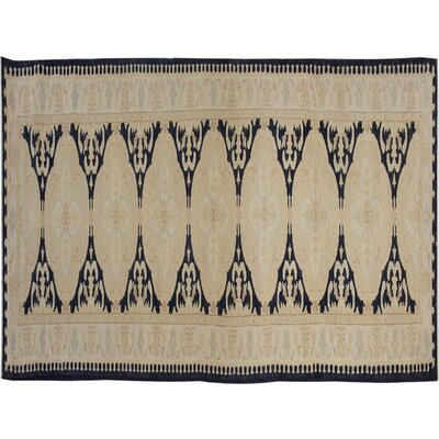 Badham Hand-Knotted Wool Tan/Blue Area Rug