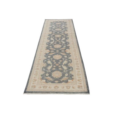 Xenos Transitional Hand-Knotted Wool Gray/Ivory Area Rug