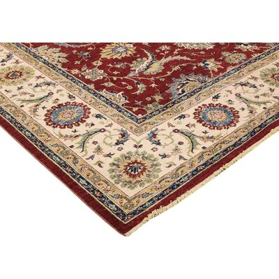 Xenos Hand-Knotted Rectangle Wool Red/Ivory Area Rug