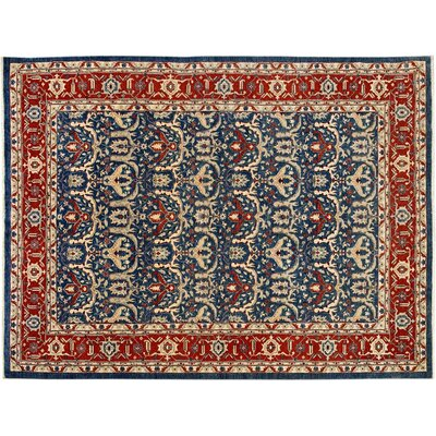 Badham Hand-Knotted Wool Blue/Red Area Rug