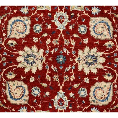 Badham Hand-Knotted Rectangle Wool Red/Ivory Area Rug Size: 8 5 X  9 5