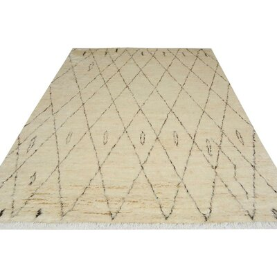 One-of-a-Kind Kimberlee Moroccan Hand-Knotted Wool Ivory/Black Area Rug