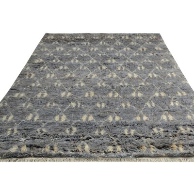 One-of-a-Kind Kimberlee Moroccan Hand-Knotted Wool Gray/Ivory Area Rug