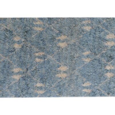 One-of-a-Kind Kimberlee Moroccan Hand-Knotted Wool Rectangle Blue/Ivory Area Rug