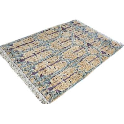 Kimberlee Moroccan Hand-Woven Wool Ivory/Blue Area Rug