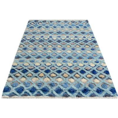One-of-a-Kind Alverez Moroccan Hand-Knotted Wool Blue/Gray Area Rug