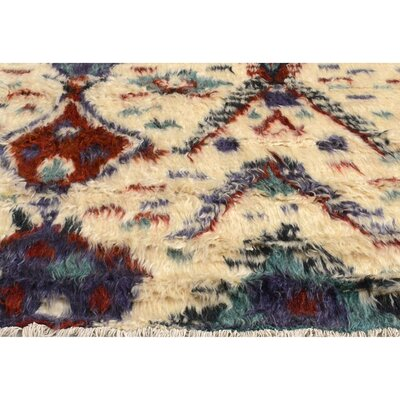 One-of-a-Kind Kimberlee Moroccan Hand-Knotted Wool Ivory/Red Area Rug