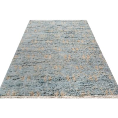 One-of-a-Kind Kimberlee Moroccan Hand-Knotted Wool Blue/Ivory Area Rug