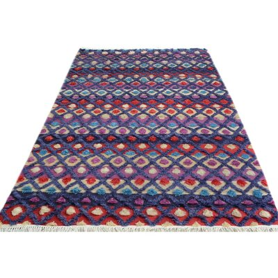 One-of-a-Kind Alverez Moroccan Hand-Knotted Wool Purple/Blue Area Rug