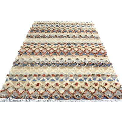 Kimberlee Moroccan Hand-Knotted Wool Ivory/Rust Area Rug
