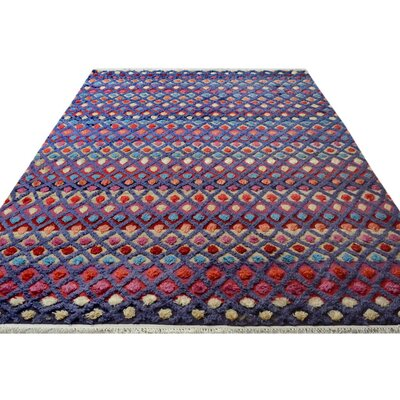 Alverez Moroccan Hand-Knotted Wool Purple/Blue Area Rug