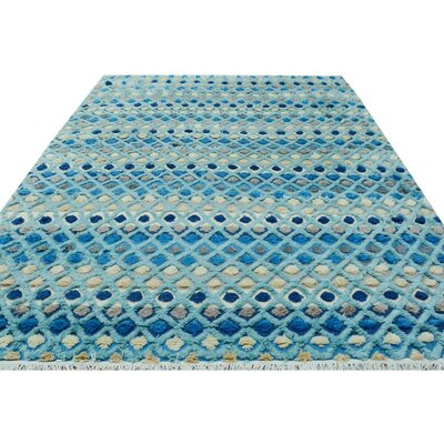 One-of-a-Kind Alverez Moroccan Hand-Knotted Wool Blue Area Rug