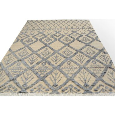 Kimberlee Moroccan Hand-Knotted Wool Rectangle Ivory/Gray Area Rug