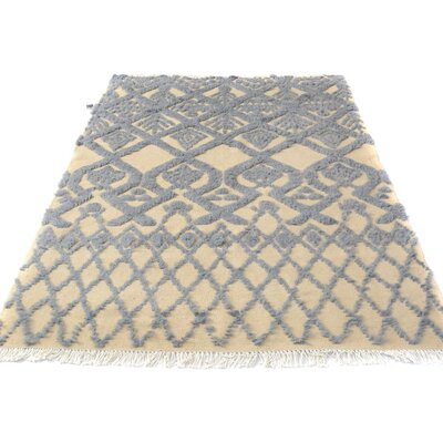 One-of-a-Kind Kimberlee Contemporary Moroccan Hand-Knotted Wool Ivory/Blue Area Rug