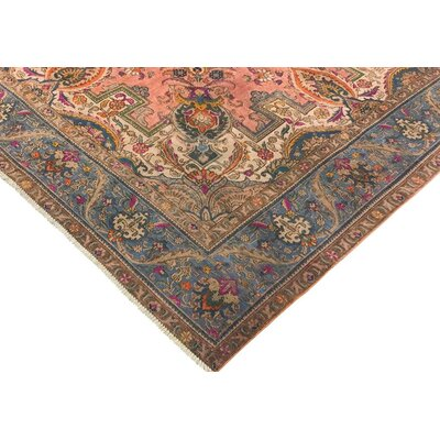 Visser Hand-Knotted Wool Rose/Light Blue Indoor Area Rug