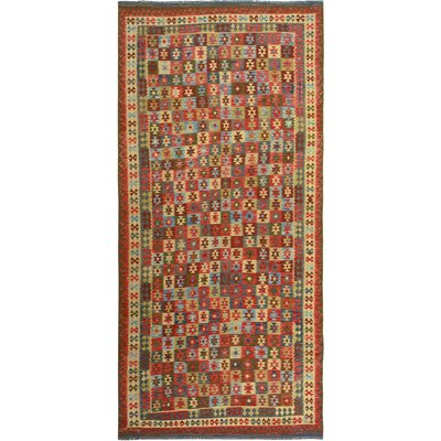 Rosalina Handmade-Kilim Wool Rectangle Red/Blue Fringe Area Rug