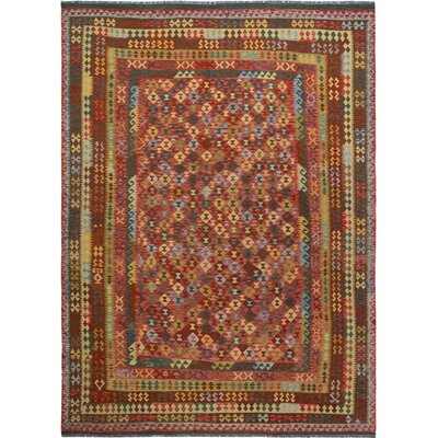 Rosalina Handmade-Kilim Wool Red/Brown Area Rug