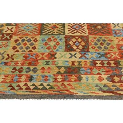Rosalina Handmade-Kilim Wool Gray/Red Oriental Area Rug