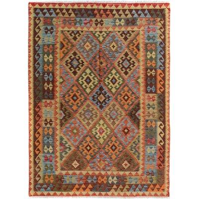 Rosalina Handmade-Kilim Wool Rectangle Rust/Blue Area Rug
