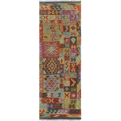 Rosalina Handmade-Kilim Wool Purple/Rust Area Rug
