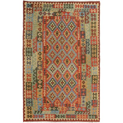 Rosalina Handmade-Kilim Wool Rust/Blue Area Rug