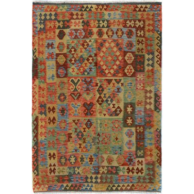 Rosalina Handmade-Kilim Wool Rectangle Red/Blue Fringe Area Rug