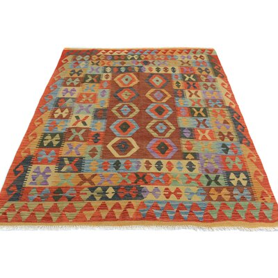 Rosalina Handmade-Kilim Wool Red/Rust Area Rug