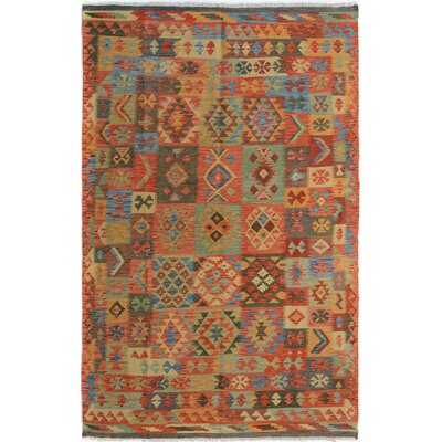 Rosalina Handmade-Kilim Wool Rectangle Red/Green Geometric Area Rug