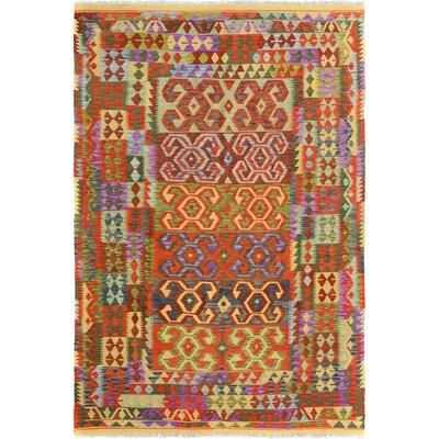 Rosalina Handmade-Kilim Wool Red/Green Oriental Area Rug
