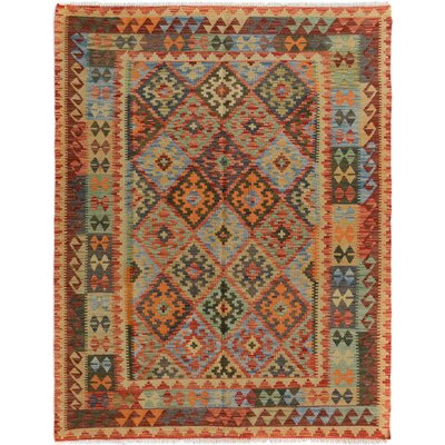 Rosalina Handmade-Kilim Wool Blue/Orange Area Rug