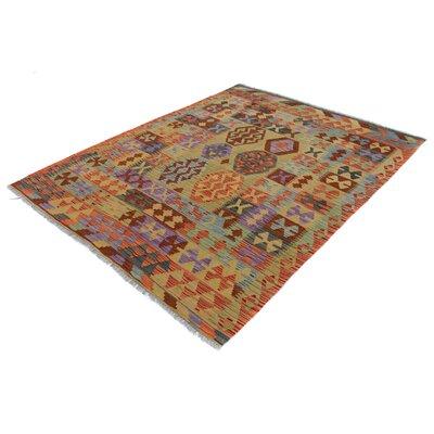 Rosalina Handmade-Kilim Wool Rectangle Gray/Red Area Rug