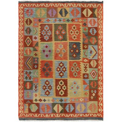 Rosalina Handmade-Kilim Wool Rectangle Rust/Blue Geometric Area Rug