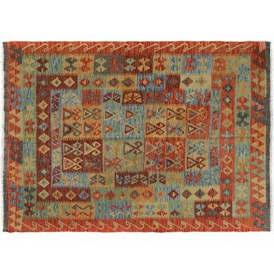 Rosalina Handmade-Kilim Wool Rust/Blue Geometric Area Rug