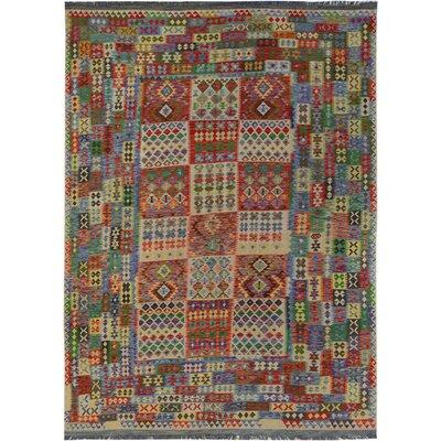 Rosalina Handmade-Kilim Wool Rust/Green Area Rug