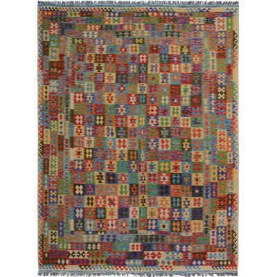 Rosalina Handmade-Kilim Wool Red/Blue Area Rug
