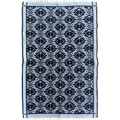 Rosalina Hand Woven Black/Blue Area Rug
