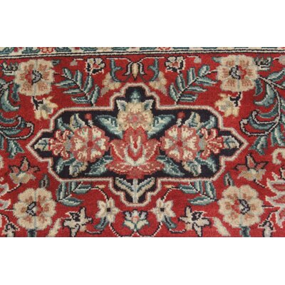 Bellomy Kashan Hand-Knotted Wool Blue/Red Area Rug
