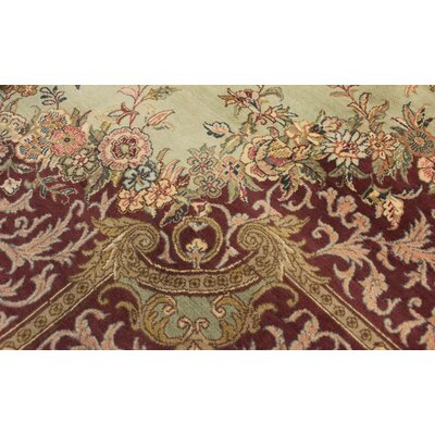 Bellomy Abusson Hand-Knotted Wool Green/Red Area Rug