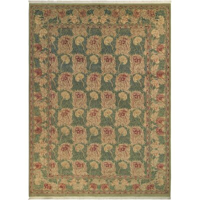 Bellomy Tulip Hand-Knotted Wool Green/Brown Area Rug