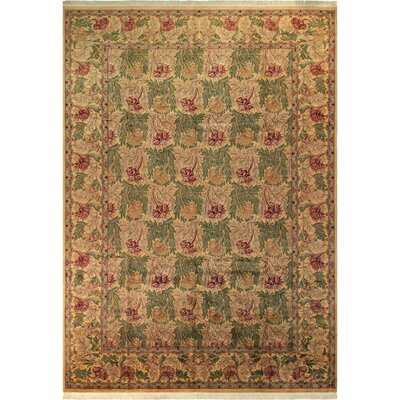 Bellomy Tulip Hand-Knotted Wool Green/Gold Area Rug